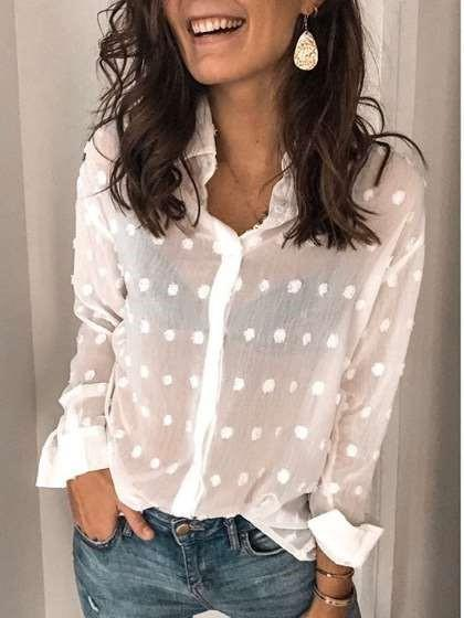 Point Long sleeve V neck Pure Blouses
