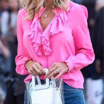 Fashion Pure Falbala Long sleeve Blouses
