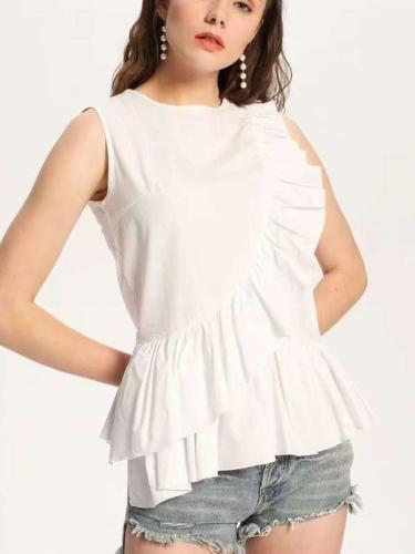 Fashion Falbala Sleeveless Cotton Blouses