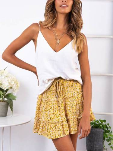 High waist flounce skirt with floral print a-line beach skirt
