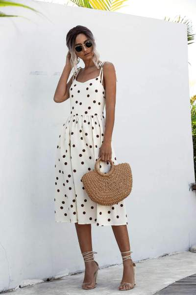 Fashion Casual Point print Sleeveless Vest Backless Skater Dresses