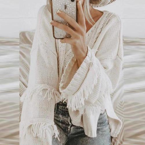 Round Neck Long Sleeve Tassel Fashion Knitting Sweaters