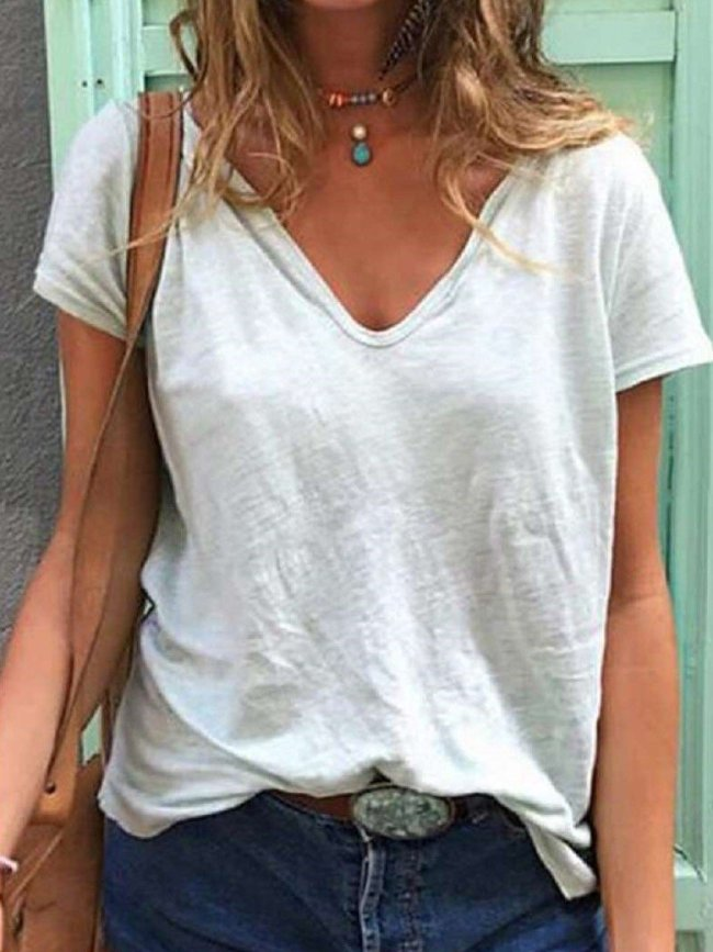Casual Loose Pure V neck Short sleeve T-Shirts
