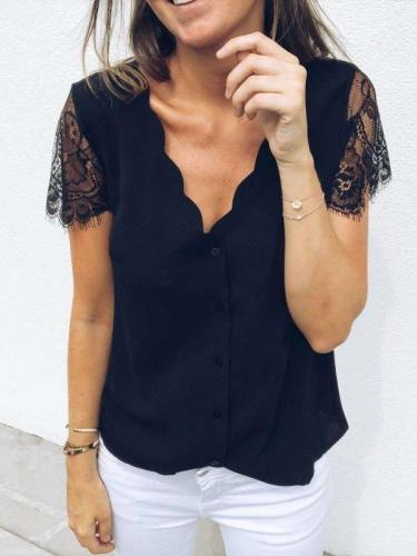 Fashion Casual Pure V neck Lace Short sleeve T-Shirts