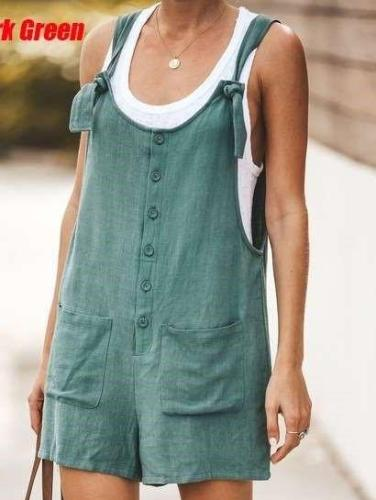 Casual Pure Vest Pocket Jumpsuits
