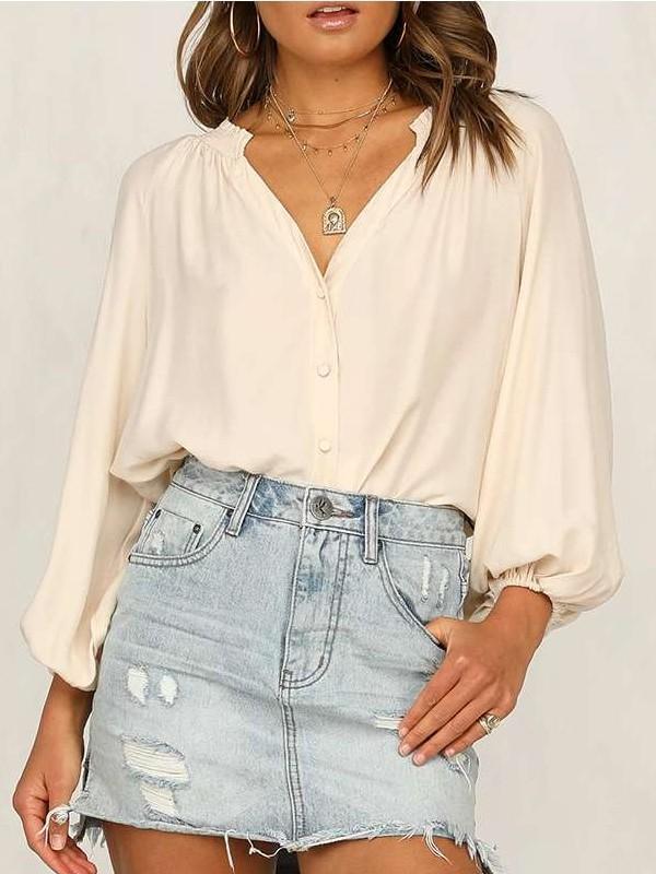 Fashion V neck Puff sleeve Blouses