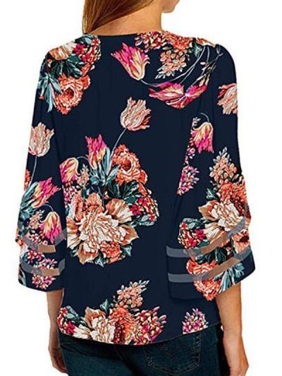 V Neck Floral Printed Blouses