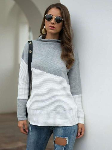 Fashion Gored Knit Long sleeve irregular Sweaters