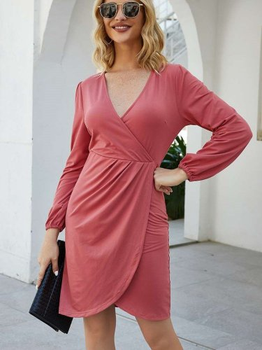 Fashion Pure V neck Long sleeve Skater Dresses