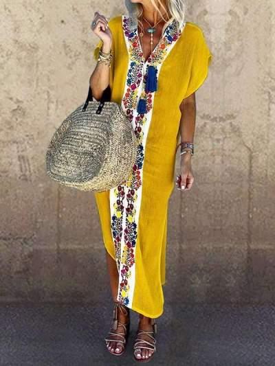 Plain printed v-neck short sleeve maxi dresses