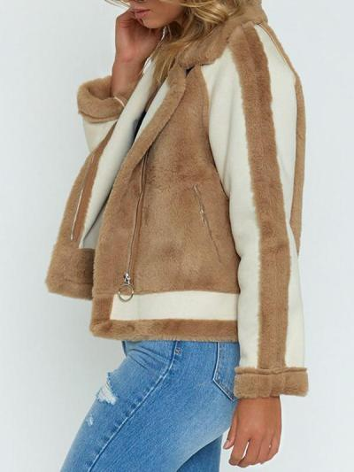 Fashion Matching Color Cool Woman Lapel Collar Coat