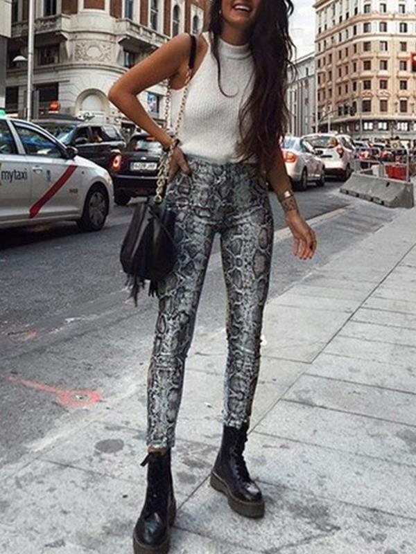 Snake printed long pants trousers