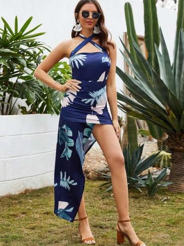 Fashion Casual Print Halter Vent Bodycon Dresses