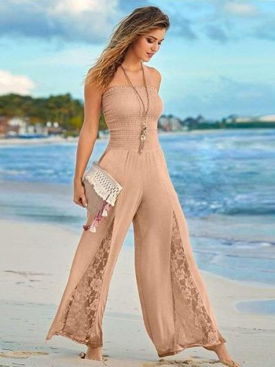 Fashion One shoulder Lace Hollow out Jumpsuits