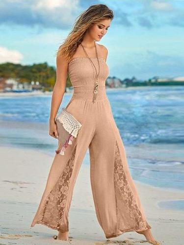 Fashion One shoulder Lace Hollow out Jumpsuits