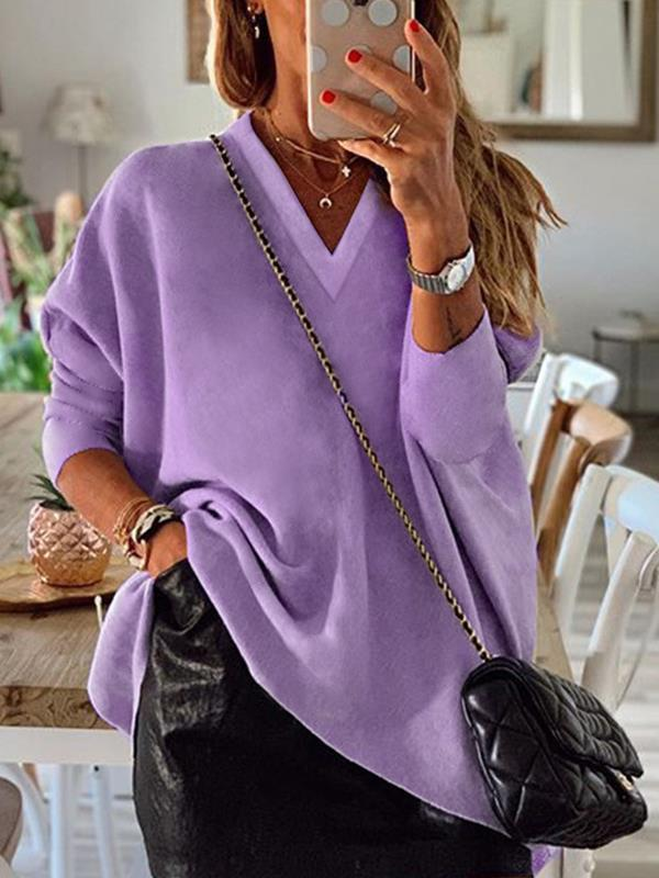 Solid color women's irregular hem long sleeve v neck T-shirts