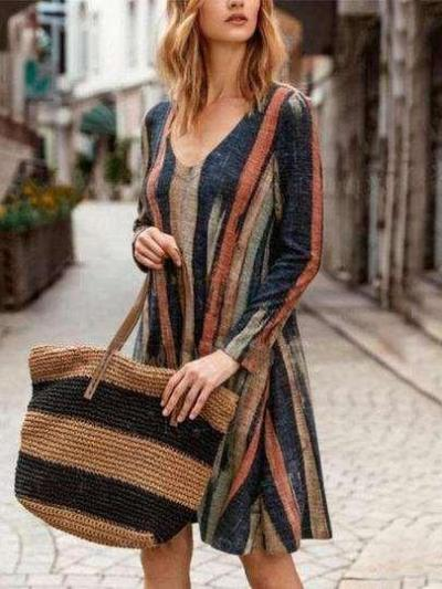 Fashion Print Stripe V neck Long sleeve Shift Dresses