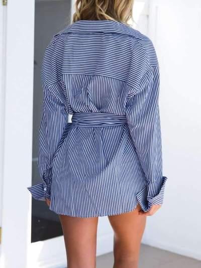 Fashion Stripe Long sleeve Irregular Lacing Blouses