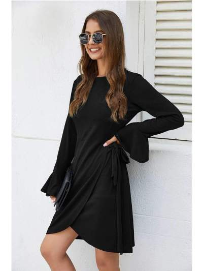 Pure Sexy Knit Round neck Lacing Skater Dresses