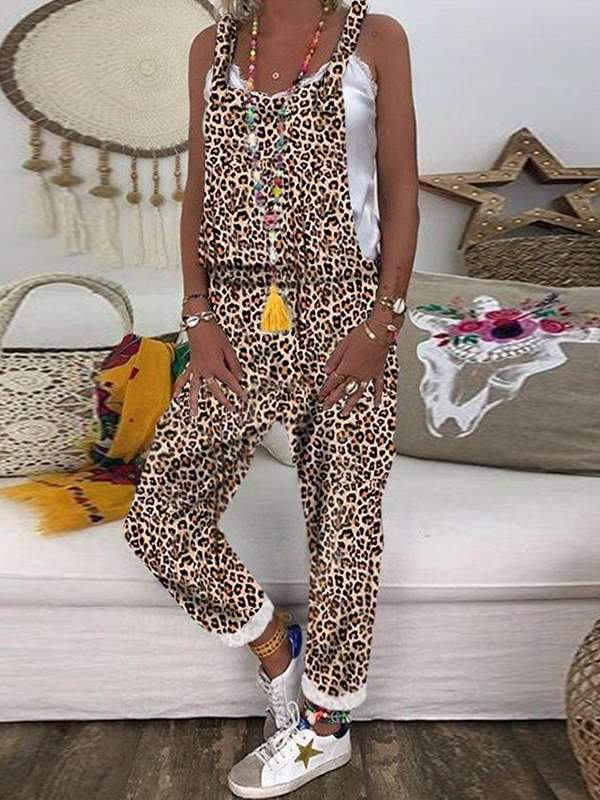 Casual plus-size leopard printed camouflage long jumpsuits