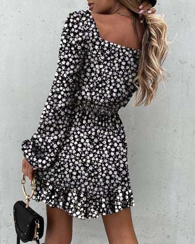 Fashion Print Square collar Long sleeve Falbala Skater Dresses