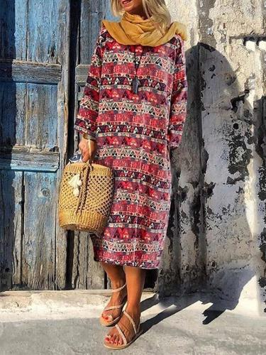 Casual women bohemia printed long sleeve Maxi dresses