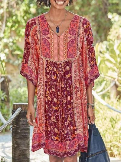 Casual Print V neck Half sleeve Shift Dresses