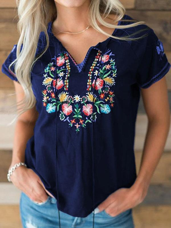 Vintage embroidered short sleeve T-shirts