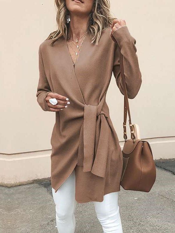 Fashion pure V neck Long sleeve Lacing Irregular Coats