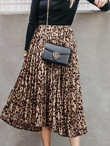 Women leopard printed long skirts