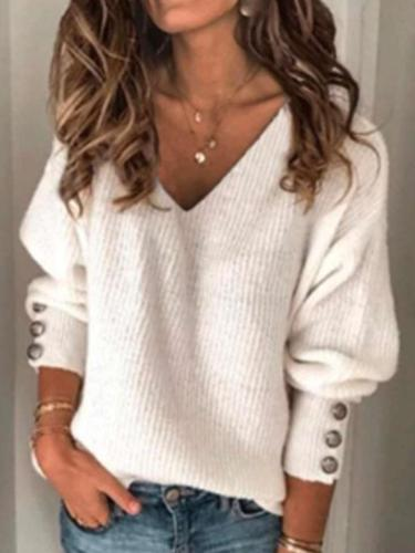 Loose Fashion Pure V neck Long sleeve Knit Sweaters