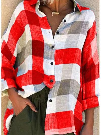 Casual Loose Plaid Lapel Long sleeve Blouses