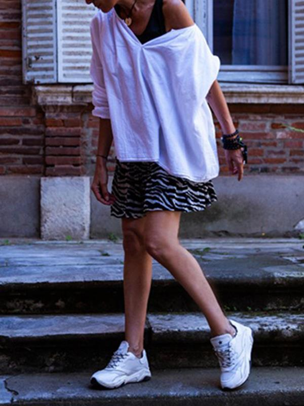 Plain cotton and linen blend long sleeves v-neck blouses