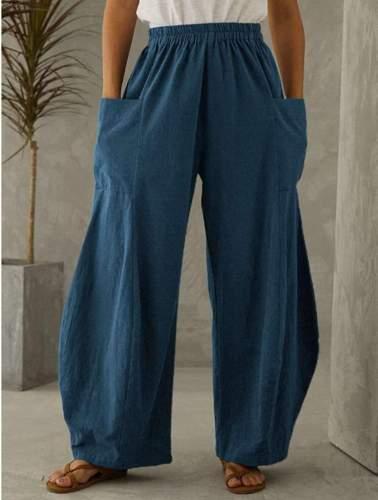 Casual Loose Pure Pocket Pants