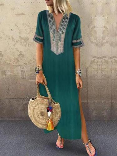 Bohemia Printed V Neck Casual Maxi Dresses