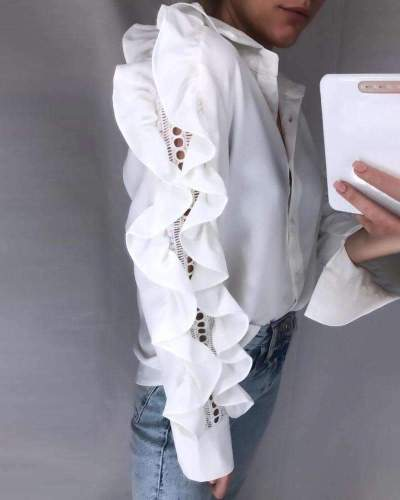 Fashion Pure Gored  Falbala Hollow out Long sleeve Blouses