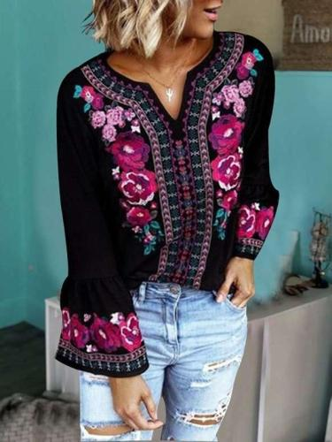 Fashion Loose Print V neck Long sleeve Blouses