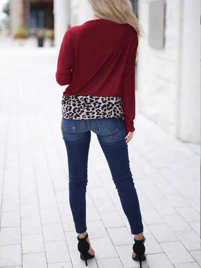 Spring Leopard Print Matching Loose Round Collar Long Sleeve T-shirt