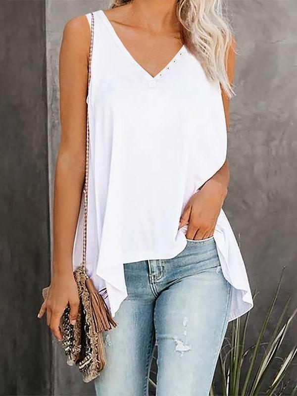 Fashion Pure Fastener V neck Sleeveless Irregular T-Shirts