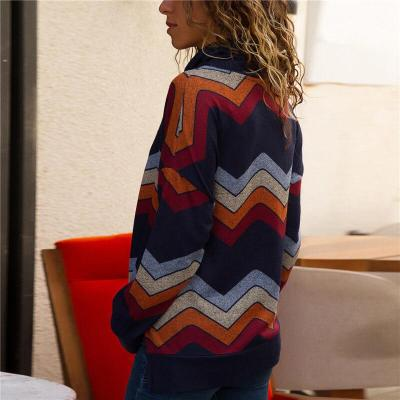 Geometric Printed Casual Long Sleeve High Collar Knitting T-Shirts