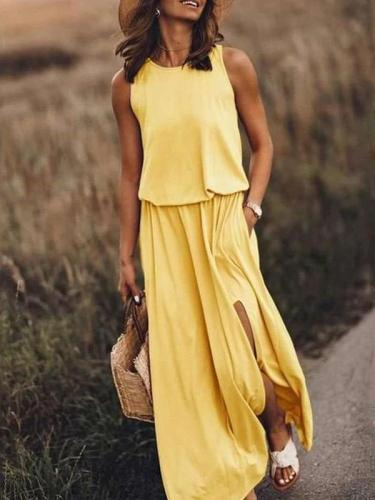 Fashion Casual Pure Round neck Skater Maxi Dresses
