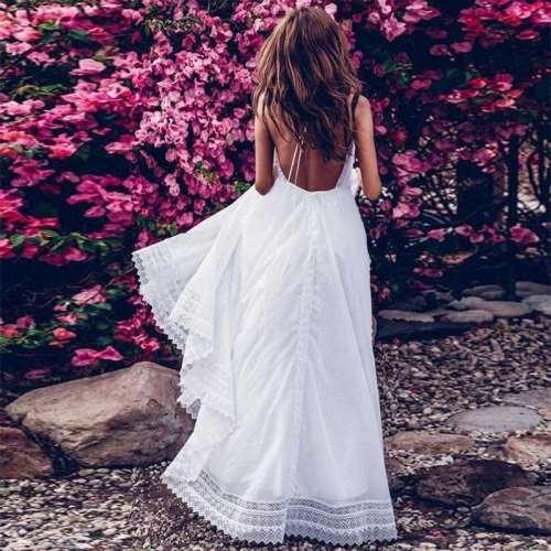 Fashion Sexy Elegant Pure V neck Lace Sleeveless Backless Maxi Dresses