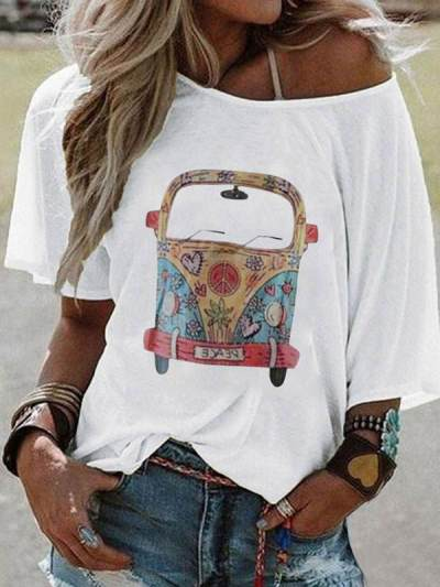 Stylish printed short sleeve women T-shirts