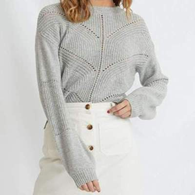 Fashion Pure Hollow out Round neck Long sleeve Sweaters