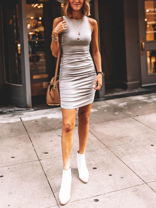 Fold off  irregular hem sleeveless bodycon dresses