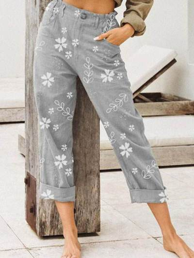 Stylish flower printed daily long pants for women