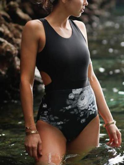 Women Fashion Printed Back Zipper Bikini Swimwear