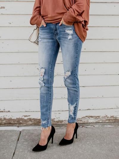 Chic High-snap denim break holes jeans long pants