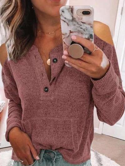 Pure Off shoulder Fastener Long sleeve T-Shirts
