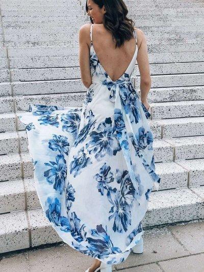 Fashion Print V neck Vest Sleeveless Skater Maxi Dresses